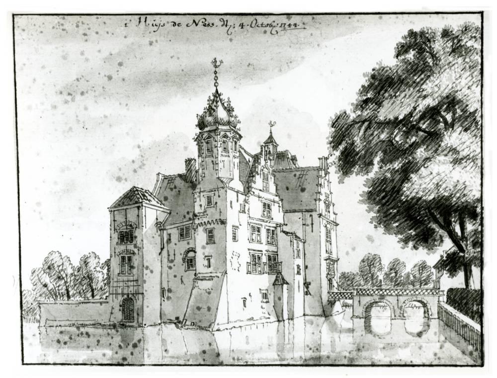 Huis te Nesse in Montfoort. Tekening Jan de Beijer, 1744